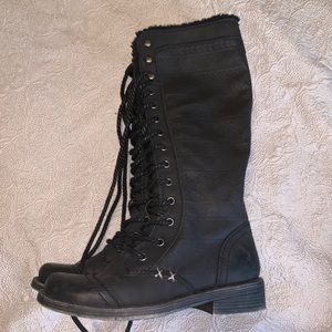Roxy tall lace up combat boot